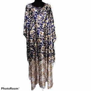 NWT Winlar Satin Blue & Gold Caftan Mumu Robe